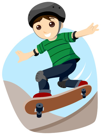skates: Boy Skateboarding with Clipping Path