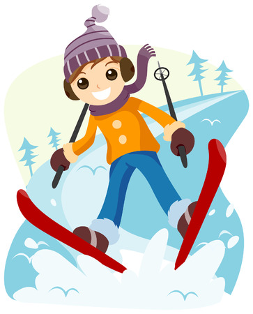 Boy Skiing with Clipping Path Vector
