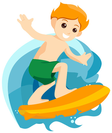 Boy Surfing with Clipping Path Vector