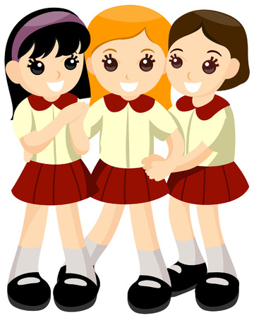 Girls in School Uniform with Clipping Path Stock Vector - 3620187