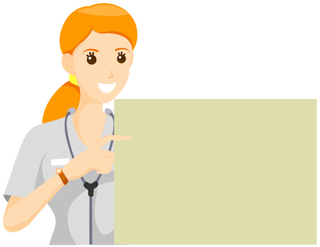 Nurse pointing to a Blank Cardboar with Clipping Path Vector