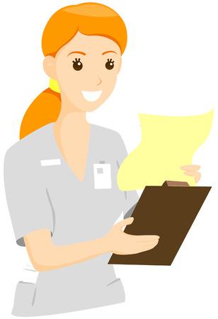 enfermero caricatura: Enfermera de la lectura con el gr�fico de limitaci�n de Ruta