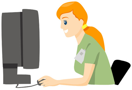 Nurse using Computer with Clipping Path Vector