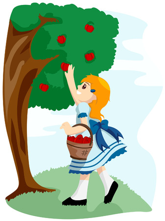 Girl picking Apples with Clipping Path Vector