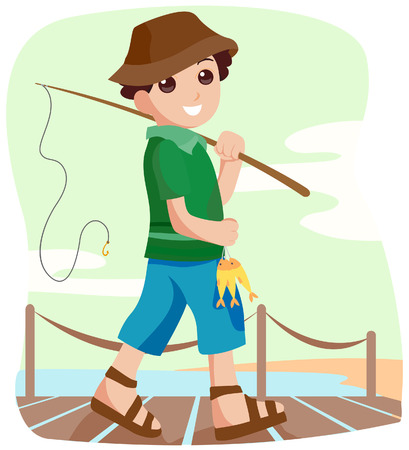 Boy Fishing with Clipping Path Vector