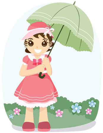 Girl in the Garden with Clipping Path Vector