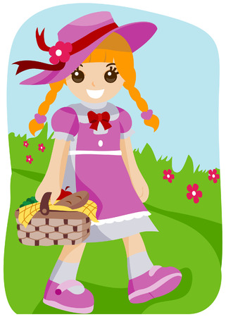 Girl on Picnic with Clipping Path Stock Vector - 3676113