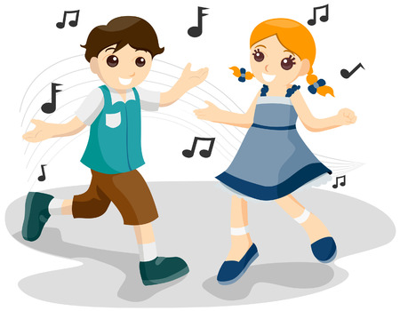 Children Dancing with Clipping Path Illustration