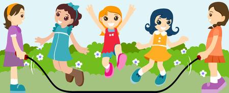 ni�as jugando: Chicas jugando saltar la cuerda
