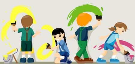 enfants peinture: Groupe d'enfants Peinture Illustration