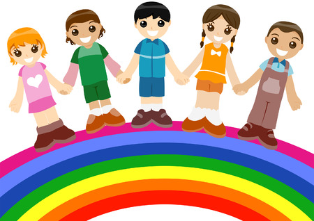 Children on Rainbow with Clipping Path Stock Vector - 3676118
