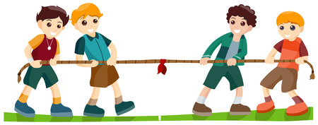 pull: Children playing Tug of War with Clipping Path Illustration