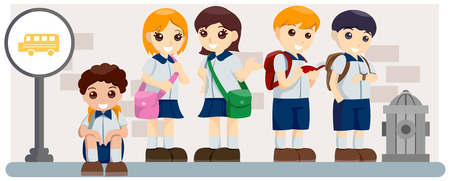schoolbus: Children waiting for SchoolBus with Clipping Path
