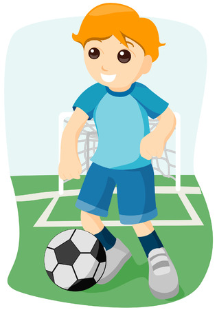 Boy playing Soccer with Clipping Path Vector