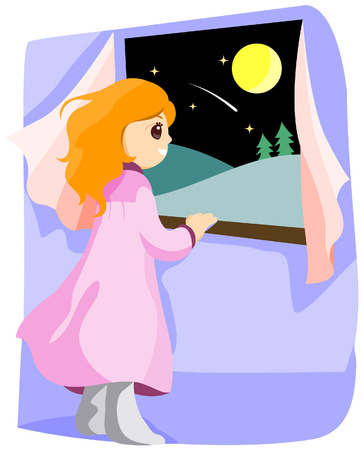 star path: Girl looking at a Shooting Star with Clipping Path