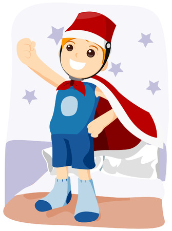 Boy playing Superhero with Clipping Path Vector