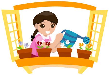 arroser plantes: Fille arrosage des plantes avec un masque vectoriel Illustration