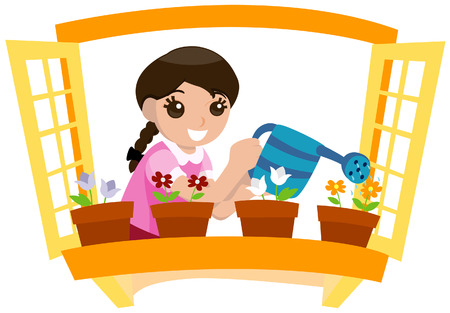 watering: Meisje drinkinstallaties planten met Clipping Path