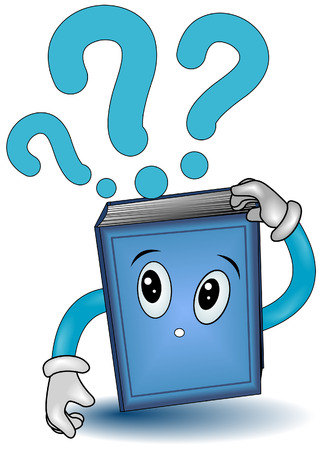 literate: Book with Question Marks with Clipping Path