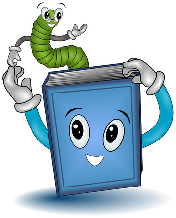 Bookworm with Clipping Path Vector