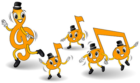 quarter note: Dancing Notes with Clipping Path