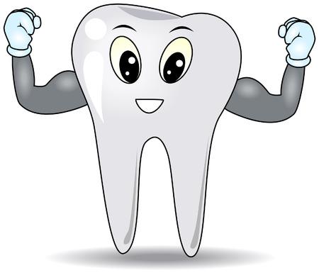 arm muskeln: Starke Zahn mit Clipping-Pfad