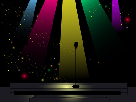 Stage Illustration with Lights and Microphone Illustration