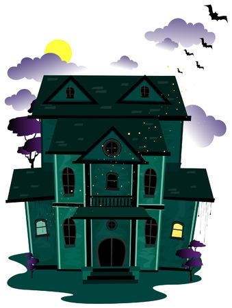 haunted tree: Haunted House  Illustration