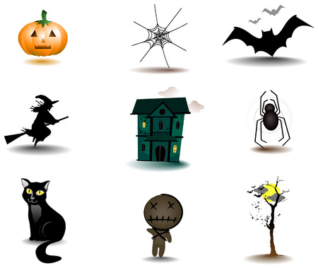 Halloween Icons with Clipping Path Stock Vector - 3723475