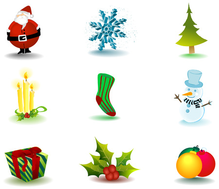 Christmas Icons with Clipping Path Stock Vector - 3723471