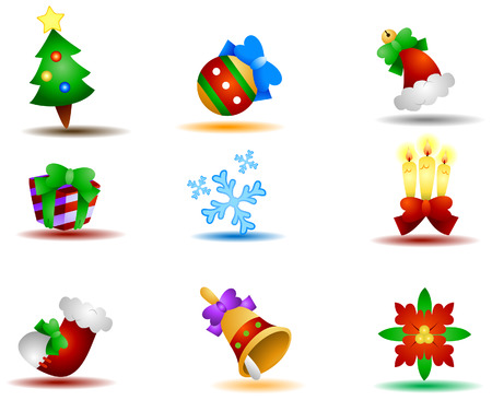 Christmas Icons with Clipping Path Vector