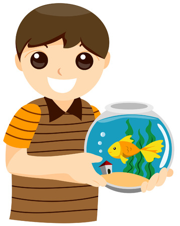 Boy with Pet Goldfish with Clipping Path Vector