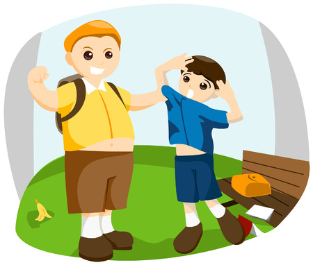 incorrect: School Bully with Clipping Path Illustration
