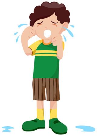 wenen: Boy Crying met het uitknippad Stock Illustratie