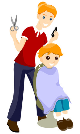 Getting Haircut with Clipping Path Stock Vector - 3744335