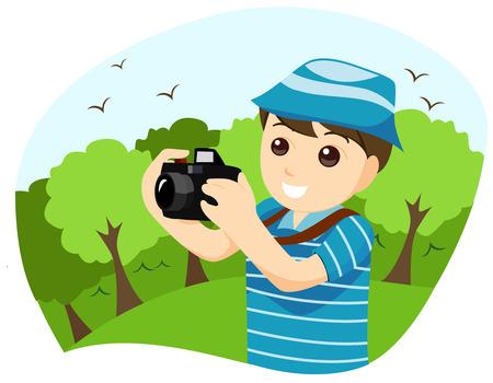 fotografi: Boy Fotografo con Clipping Path Vettoriali