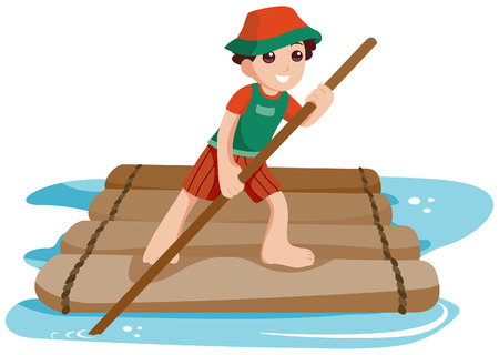 raft: Boy on Raft with Clipping Path Illustration