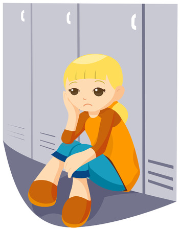 solitude: Sad Girl at the Lockers with Clipping Path