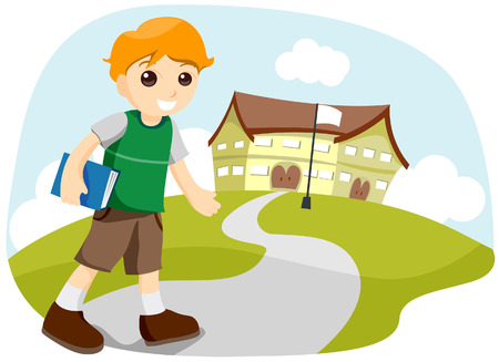 to go: Boy Going to School with Clipping Path Illustration