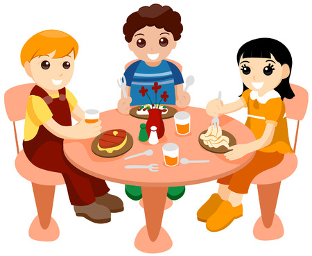 Children Dining Out with Clipping Path Illustration