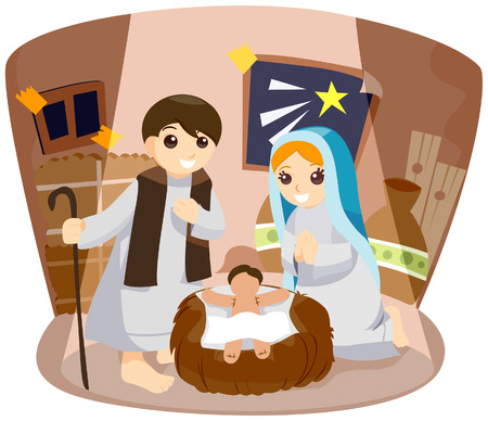 Nativity Play with Clipping Path Vector