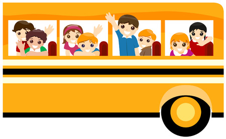 Children on School Bus with Clipping Path
