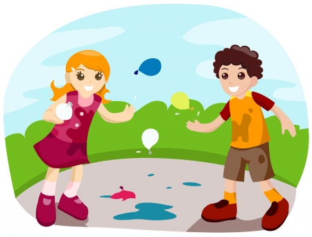 Water Balloon Fight with Clipping Path Stock Vector - 3744351