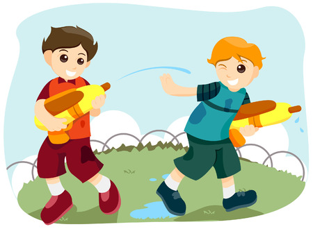Watergun Fight with Clipping Path Stock Vector - 3744355