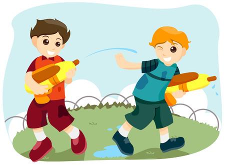 watergun: Watergun Fight with Clipping Path