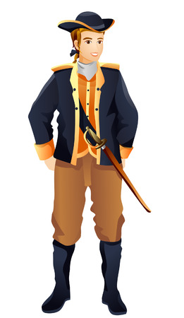 Colonial Costume with Clipping Path