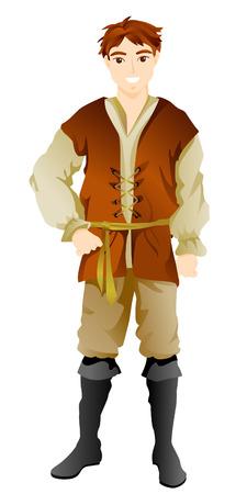 campesino: Campesino con traje de limitaci�n de ruta Vectores