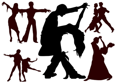 Dancing Couples Silhouettes with Clipping Path Vector