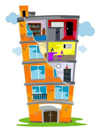 Residentieel Bouwen (Kruis afdeling) met Clipping Path Vector Illustratie