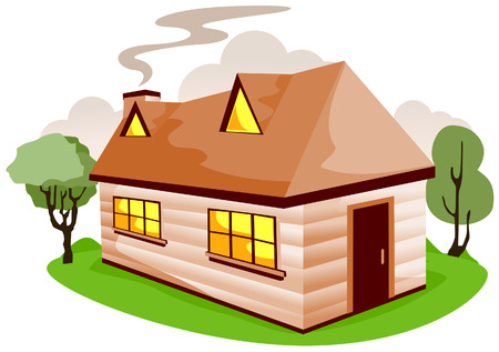 Cartoon House with Clipping Path Vector